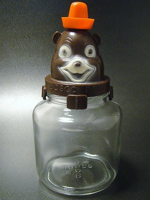 ★50'sボスコ・ベア チョコレートシロップガラス容器貯金箱